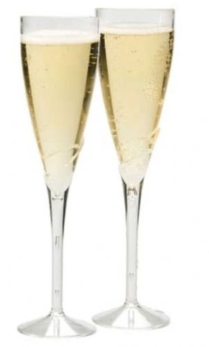 Disposable plastic champagne flutes (8 pack)